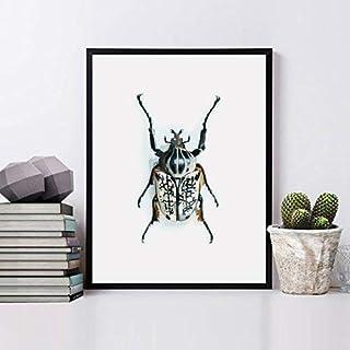 Insecto pared, Cuadro de pared enmarcado con madera natural, Impresión artística, impresión original, impresiones artístic...