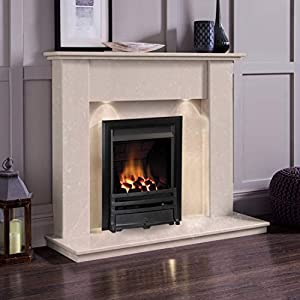 Cream Marble Stone Modern Wall Surround Gas Fireplace Suite Black Inset Fire & Downlights