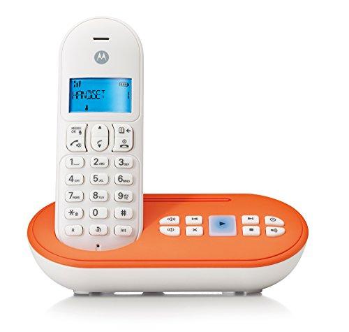 Motorola T111 Telefono Cordless DECT, Bianco Arancio
