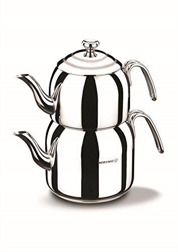 Korkmaz Droppa Midi Tea Pot Set/Caydanlik Takimi Teekocher, Edelstahl, Mehrfarbig, 48 x 48 x 48 cm, 4-Einheiten
