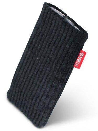 fitBAG Retro Schwarz Handytasche Tasche aus Cord-Stoff mit Microfaserinnenfutter für Nokia N95