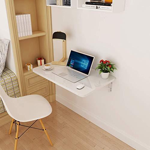 Zairmb Mesa de Pared Escritorio De Computadora Impermeable Mesa De Pared Abatible Multifuncional Escritorio Plegable Doble apoyo-60x40/24x16in Blanco