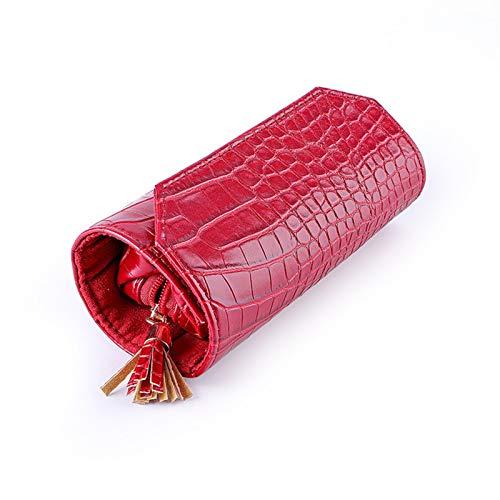 Serious Lamp Rollo de Caja Organizadora de Joyas de Viaje Portátil Bolsa de Almacenamiento de Joyas de Cuero PU para Anillos, Pendientes y Collares,Rojo