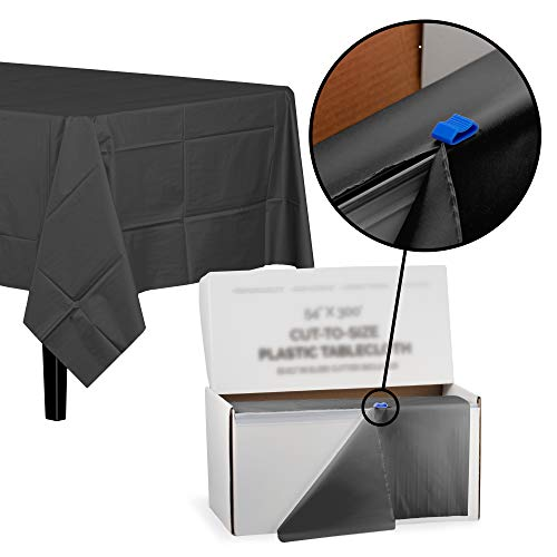 Exquisite 54 Inch X 300 Feet Black Plastic Table Cover Roll in A Cut - to - Size Box with Convenient Slide Cutter. Cuts Up to 12 Rectangle 8 Feet Plastic Disposable Tablecloths