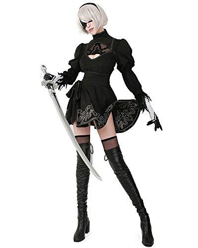 miccostumes Women's No 2 Type B Cosplay Leotard Skirt with Mask Hairband Leggings (Women s) Black