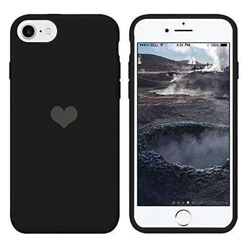 Für iPhone 7 Hülle Silikon Schutzhülle Handyhülle für iPhone 8 Silikonhülle für iPhone SE 2020 Herz Motiv schutzschale Hüllen Tasche Handytasche Weiche Etui (Schwarz, iPhone 7/iPhone 8/iPhone SE 2020)