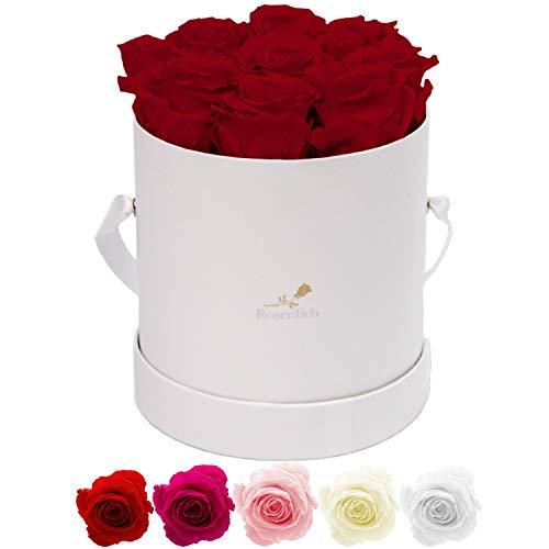 Rosenlieb Rosenbox Weiß mit 9 Infinity Rosen (bis 3 Jahre haltbar)  Echte Rosen   Inklusive Grußkarte   Flowerbox Geschenk für Frau Freundin Muttertag/Geburtstag/Hochzeitstag/Weihnachten/Valentinstag