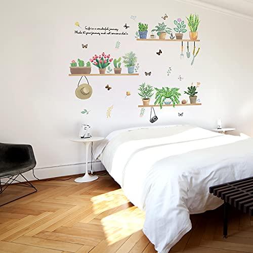 DSSJ Pegatinas de Pared de Plantas Verdes pequeñas y Frescas para Dormitorio cálido Creativo decoración de Pared de cabecera Papel Tapiz Autoadhesivo Pegatinas de habitación