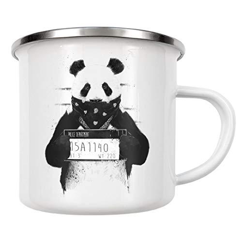 artboxONE Emaille Tasse Bad Panda von Balázs Solti - Emaille Becher Tiere