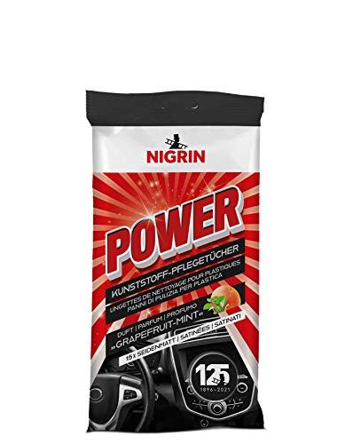 NIGRIN Power Kunststoff-Pflegetücher, reinigen die Oberflächen im Auto, silikonfrei, mit Grapefruit-Minze-Duft, 15 Stück