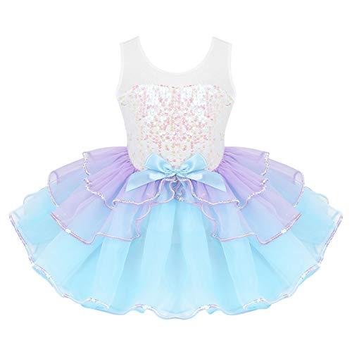 iEFiEL Kinder Mädchen Meerjungfrau Kostüm Glitzer Ballettkleid Prinzessin Tutu Pailletten Ballett Trikot Tanz-Kostüm Party Performance Bekleidung Himmelblau 98-104