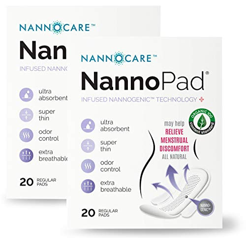 NannoPad Regular - Certified Organic Cotton- Far Infrared Technology to Reduce Discomfort - No Dyes, Chlorine Bleach or Fragrances - Minimize Odors and Bacteria