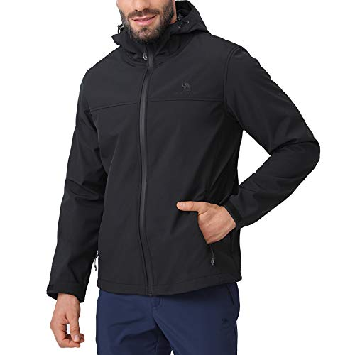 CAMEL CROWN Softshell Jacket Men Hooded Fleece Lined Outdoor Jackets Windproof Water Resistant for Hiking Casual Work Black L