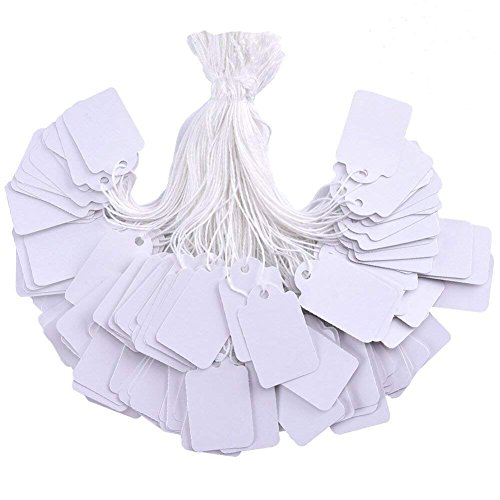 Brothersbox 500 Pieces White Tags with String Marking Strung Tags writable Tags Display Label for Product Jewelry Clothing Tags, 1.375 x 0.875 inches, Pack of 500 Pieces