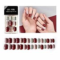 3D ジェルネイルチップ つけ爪 ネイルシール 人気の色 手作り短いさネイルチップ 可愛い 夢幻 正方形の短い爪30枚入 (E)
