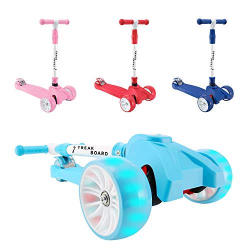 streakboard Kinderroller Mini-Scooter, Dreirad mit Verstellbarem Lenker Kinderroller mit PU LED Blinken für Kinder 3-10 Jahren, bis 50kg Belastbar (Blau)