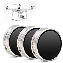 LENSKINS 3 Pack ND4/ND8/ND16 Camera Lens Filter for DJI Phantom 4 Pro/Pro+/Advance, AGC Optics, Weather-Sealed, Multi-Resistant Coated Neutral Density Filter