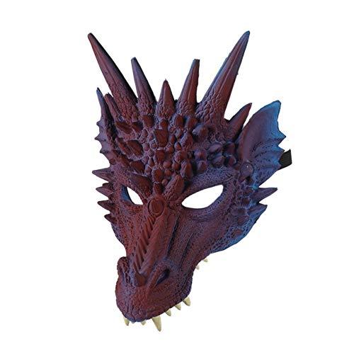 4D Máscara de dragón Media mascarilla para niños Adolescentes Disfraces de Halloween Decoraciones para fiestas Cabeza de animal Monstruo Horror Máscaras de goma de Halloween POR Iswell