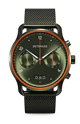 DETOMASO SORPASSO Limited Edition Velocita Olive Orange Herren-Armbanduhr Analog Quarz Mesh Milanese Olive Brushed