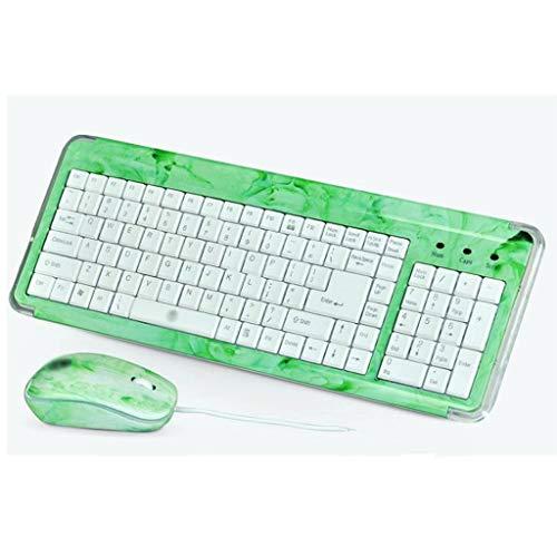 Draadloze Laser Graveren Lettertype Toetsenbord en Muis Set Chocolade Crystal Frame Office Notebook Mini (Kleur : Groen)