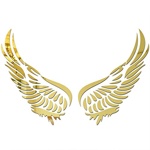 Angel Wing Mirror Acrylic Wall Sticker Children Crystal Wing Self-Adhesive DIY Home Decor Sticker (Gold)