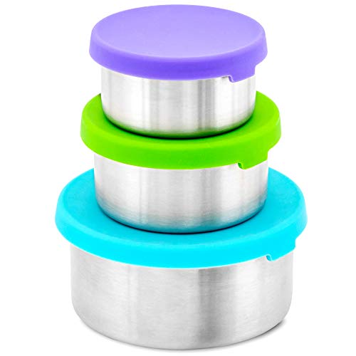 WeeSprout 188 Stainless Steel Food Storage Containers - Set of 3 Metal Food Storage Containers 150 ml 200 ml 400 ml Leakproof Silicone Lids Easy to Open Durable for Snacks Lunches Sauces