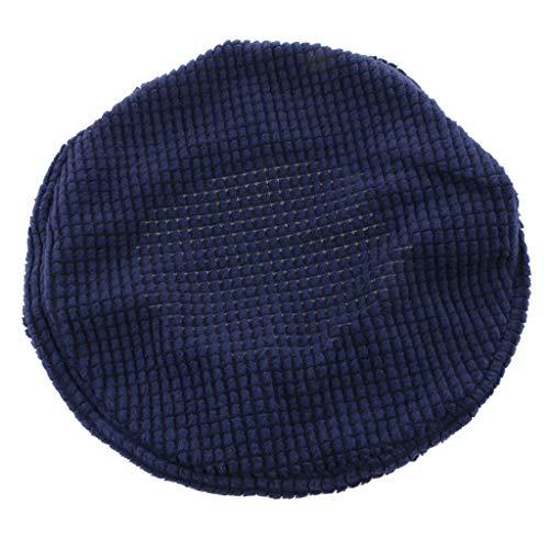 FLAMEER Funda de Taburete Asiento Cojín Cubierta Grueso Elástico Bar Redondoo Silla Protectora de 30-38cm - Azul Oscuro