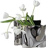 HZYDD Jarrones de cerámica para decoración del hogar, floreros de plata, floreros irregulares, elegante decoración antigua para sala de estar, dormitorio, mesa de comedor