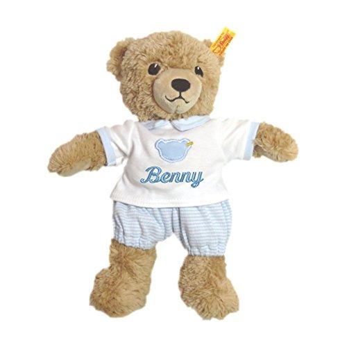 Steiff Schlaf gut Bär mit T-Shirt mit Ihrem Wunschnamen bestickt 25 cm blau 239571mn
