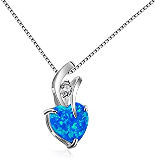 Peora Crystal Heart Shape Cubic Zirconia Necklace for Women & Girls