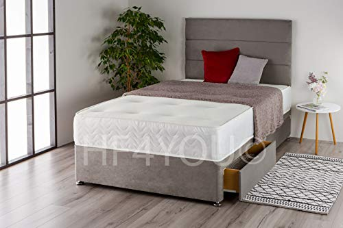 Home Furnishings UK Suede 3 Panel Divan Bed Set with a Memory Sprung Mattress and Matching Headboard (No Drawers) (3FT Single, Grey)