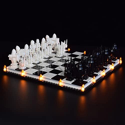 CALEN Juego de luces LED para Lego 76392 Harry Potter Hogwarts Wizards Ajedrez Modelo de bloques de construcción, iluminación suave, compatible con Lego 76392 (solo LED incluido)