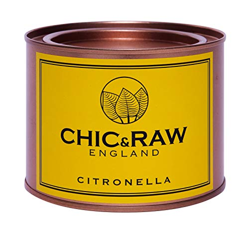 Chic & Raw Large Scented Candle, Citronella Essential Oil, for Outdoors & Indoors, in Rose Gold Tin, 70 Hours Burn Time