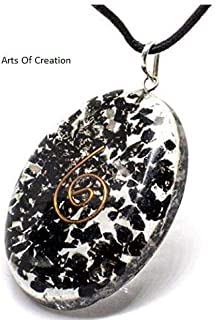 Arts Of Creation Electric Large Orgonite Necklace with Bionized Black Tourmaline Crystals Tested Cho Ku Rei Reiki Cell Phone Radiation Shield and EMF Protection Device –Negative Energy Transformer
