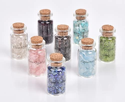 8 Pcs Mini Gemstone Bottles Chip Crystal Wishing Bottles Tumbled Gem Set for Home Office Decor