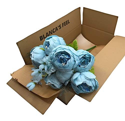 Ramo de Flores Peonía Artificial Vintage para decoración del Hogar, Bodas, Fiestas (Azul Claro)