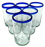 Hand Blown Mexican Drinking Glasses – Set of 6 Glasses with Cobalt Blue Rims (14 oz each)