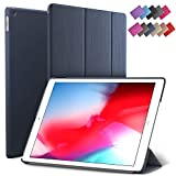 iPad Air 3 case, ROARTZ Metallic Navy Blue Slim Fit Smart Rubber Coated Folio Case Hard Cover Light-Weight Wake/Sleep for Apple iPad Air 3rd Generation 2019 Model A2152 A2123 A2153 10.5-Inch Display