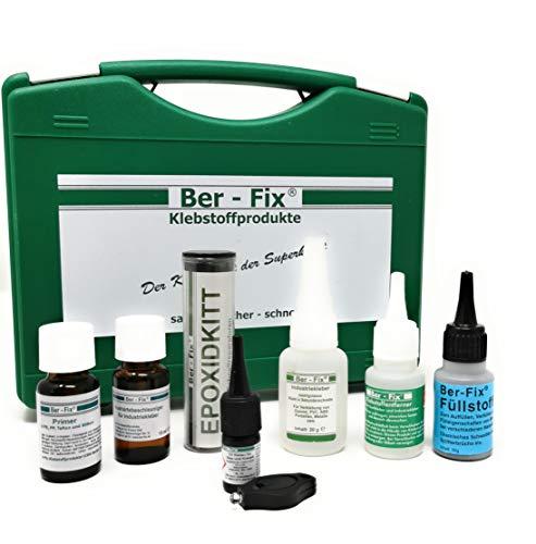 Ber-Fix koffer met inhoud van de professionele lijm gereedschapskist voor auto, boot en sport Schwarzer Füllstoff Koffer.
