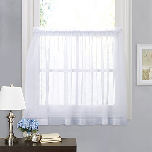 RYB HOME White Sheer Curtain Valance Drapes Half Window Dressing Panels Tiers for Kitchen/Bathroom/Living Room, 60-inch Wide x 36-inch Long Each Panel, 2 Pcs