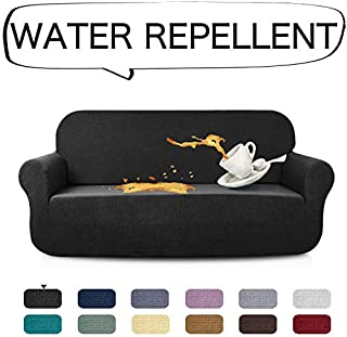 AUJOY Stretch Sofa Cover Water-Repellent Couch Covers Dog Cat Pet Proof Couch Slipcovers Protectors (Sofa, Black)