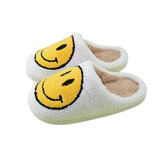 Retro Smiley Face Slippers,Men Women Retro Round Smiley Face Fashion Soft Plush Comfy Warm Slip-on Slippers,Comfy Faux Fur House Slipper Scuff Slip on Anti-skid Sole (White, 39-40)