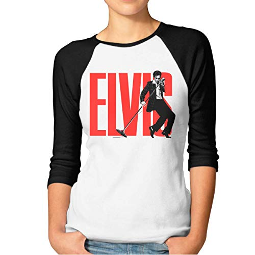 Damen Camiseta Elvis Presley Baumwolle 3/4 Ärmel Raglan Shirt L