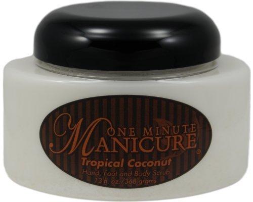 One Minute Manicure Hand, Foot & Body Moisturizing Scrub - 13 Oz Jar (Tropical Coconut) by One Minute Manicure