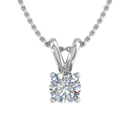 1/4 Carat Diamond Solitaire Pendant Necklace in 14K White Gold (Silver Chain Included)