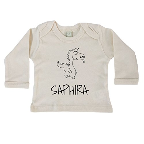 JOllipets Baby Kinder Langarm T-Shirt - SAPHIRA - 100% BIO ORGANISCH - Design: Drache – Grösse: 12-18