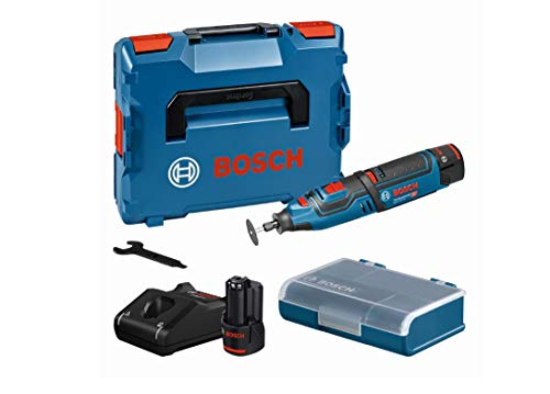Bosch Professional 12V System Akku Rotationswerkzeug GRO 12V-35 (Leerlaufdrehzahl: 5,000 – 35,000 min-1, inkl. 2x2.0Ah Akku, Schnellladegerät, Trennscheibe, in L-BOXX)