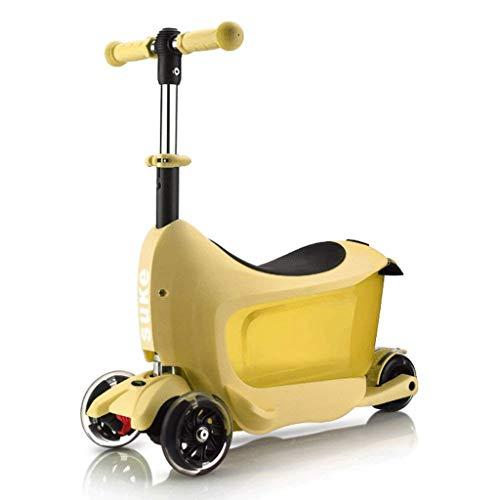 SZNWJ Ygqtbc Vespa -plegadizas Kick Scooter for niños Scooter de Rueda for Chicos, Chicas, Altura Ajustable (Color : Yellow)