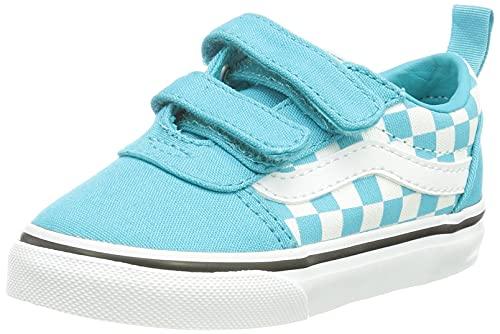 Vans Ward V-Velcro Canvas, Scarpe da Ginnastica, (Checkerboard) Scuba Blue/White, 22 EU