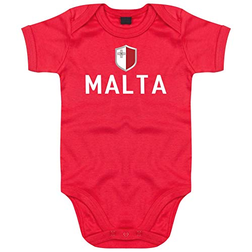 FanShirts4u Länder Baby Body - MALTA - inkl. Druck Name & Nummer EM WM Trikot (3-6 Monate, Rot/MALTA)